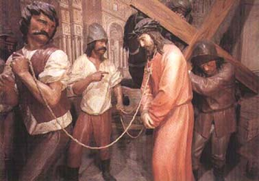A moment of Jesus Passion: Jesus crowned, mocked, brutally handled